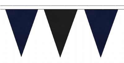 NAVY BLUE AND BLACK TRIANGULAR BUNTING - 10m / 20m / 50m LENGTHS